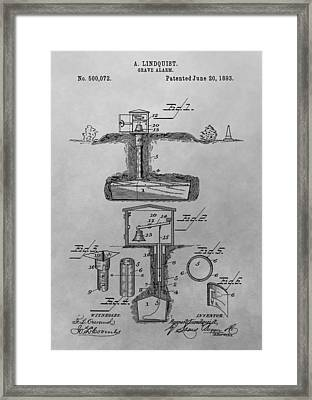 Grave Alarm Patent Drawing Framed Print