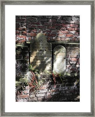 Grave Stones With Fern Framed Print by Patricia Greer