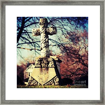 Grave With Cross Framed Print