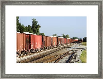 Gravel Train On Side Framed Print