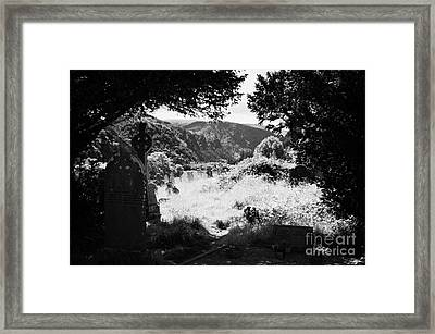 Graves In The Graveyard Looking Out Down To The Valley In Glendalough Part Of The Monastic Site Framed Print