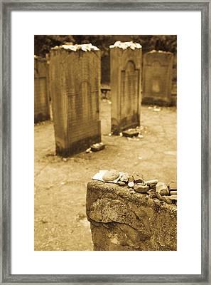 Gravestone At Old Jewish Cemetery Framed Print