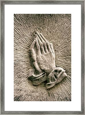 Gravestone Hands Framed Print