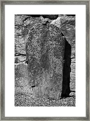 Gravestone Inside The Cathedral At Glendalough Dennis Died In 1741 Aged 60 Years Framed Print