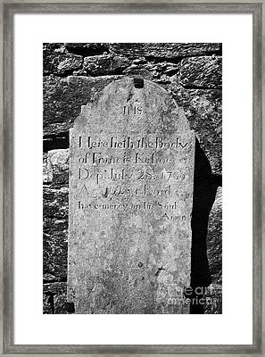 Gravestone Inside The Cathedral At Glendalough Francis Kehoe Died In 1789  Framed Print
