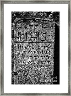 Gravestone Inside The Cathedral At Glendalough William Troy Framed Print
