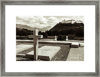 Gravestones In The Polish Cemetery Standing Proud Towards The Ab Framed Print