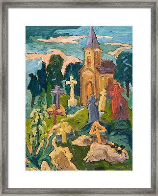 Graveyard And Chapel, 2005 Oil On Board Framed Print