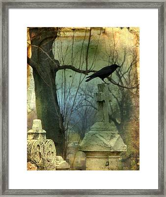 Graveyard Cross Framed Print by Gothicrow Images
