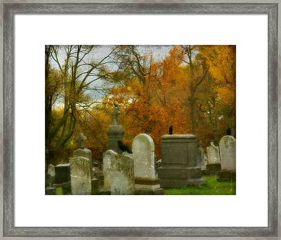 Graveyard In Fall Framed Print