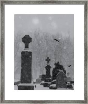 Graveyard Snowfall  Framed Print