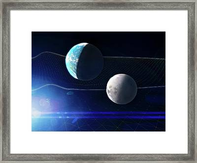Gravitational Waves And Earth Framed Print by Ramon Andrade 3dciencia