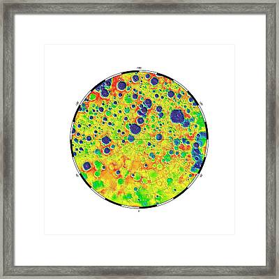 Gravity At The Moon's North Pole Framed Print by Nasa/mit/jpl/gsfc/grail