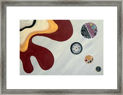 Gray And Bordo Style Framed Print by Yafit Seruya