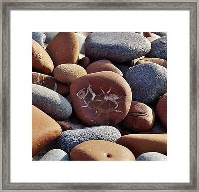 Framed Print featuring the photograph Gray And Brown Stones by Kathi Mirto