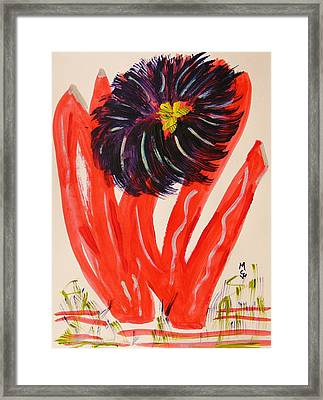 Gray And Vermillion Framed Print by Mary Carol Williams