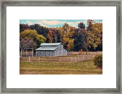 Gray Barn In Autumn Framed Print by Jai Johnson