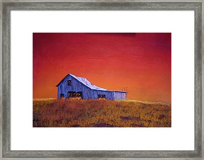 Framed Print featuring the painting Gray Barn by William Renzulli