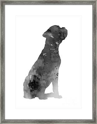 Gray Boxer Artwork Silhouette Framed Print
