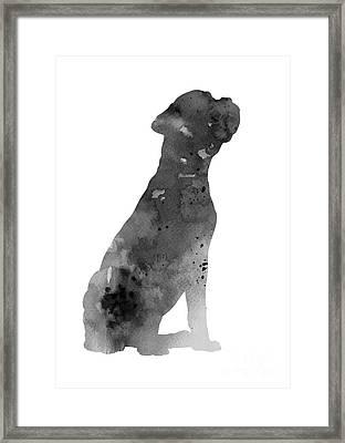 Gray Boxer Artwork Silhouette Framed Print by Joanna Szmerdt