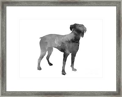 Gray Boxer Silhoeuette Art Print Watercolor Painting Framed Print by Joanna Szmerdt