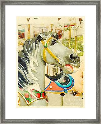 Gray Carousel Horse Framed Print by Janet Dodrill