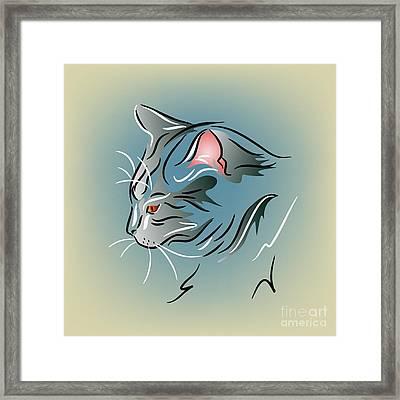 Gray Cat In Profile Framed Print