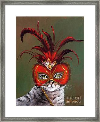 Gray Cat With Venetian Mask Fairy Tale Framed Print