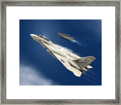 Gray Over Blue Framed Print