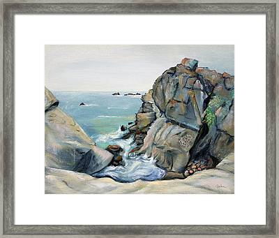Framed Print featuring the painting Gray Rocks And Sky At Gerstle Cove by Asha Carolyn Young
