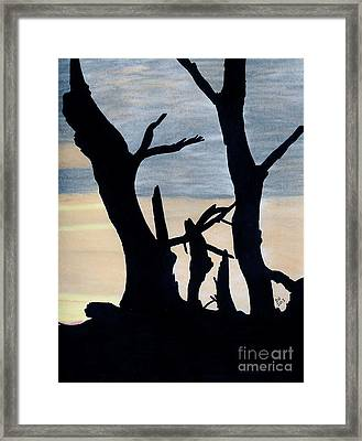 Framed Print featuring the drawing Gray Sunset by D Hackett