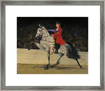 Gray Tennessee Walking Horse - Female Red Coat Framed Print by Don  Langeneckert