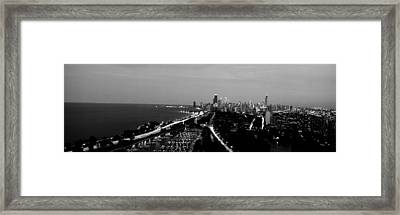 Grayscale Panoramic View Of Diversey Framed Print by Panoramic Images