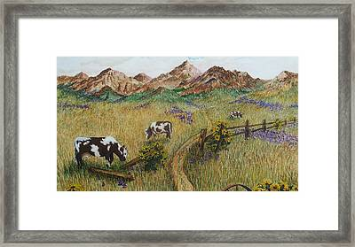 Grazing Cows Framed Print by Katherine Young-Beck