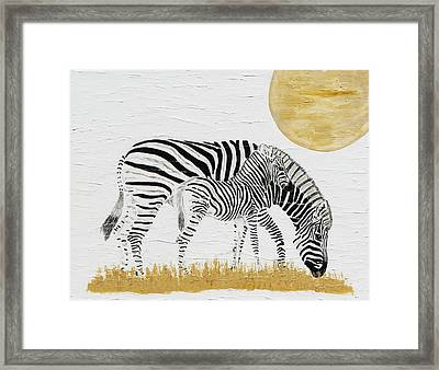 Framed Print featuring the painting Grazing Together by Stephanie Grant