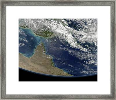 Great Barrier Reef, Satellite Image Framed Print by Science Photo Library