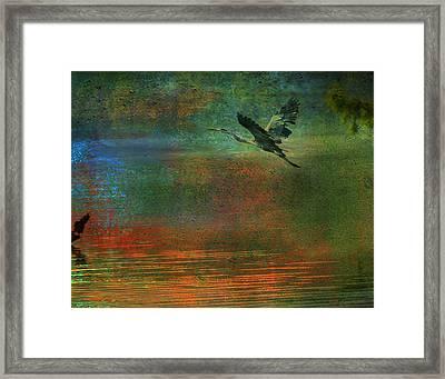 Framed Print featuring the digital art Great Blue Heron In Mystic Flight by J Larry Walker