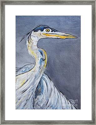 Great Blue Heron Painting Framed Print by Ella Kaye Dickey
