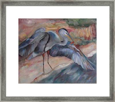 Great Blue Heron Framed Print by Susan Hanlon