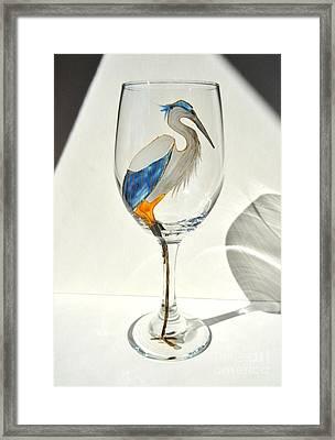 Great Blue Heron Wineglass Framed Print by Pauline Ross