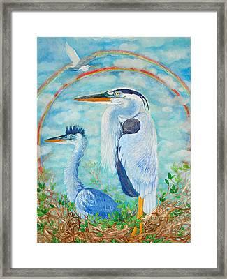 Great Blue Herons Seek Freedom Framed Print by Ashleigh Dyan Bayer