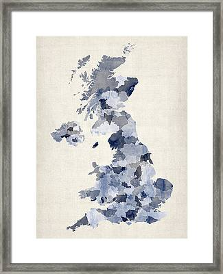 Great Britain Uk Watercolor Map Framed Print by Michael Tompsett