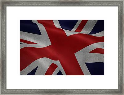 Great Britains Flag Waving On Canvas Framed Print