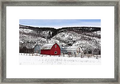 Great Canadian Red Barn In Winter Framed Print by Peter v Quenter