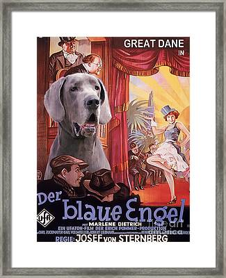 Great Dane Art Canvas Print - Der Blaue Engel Movie Poster Framed Print