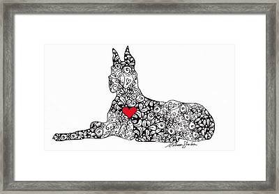 Framed Print featuring the drawing Great Dane by Melissa Sherbon