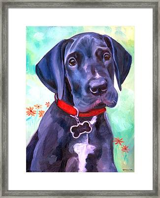 Great Dane Puppy Sweetness Framed Print by Lyn Cook