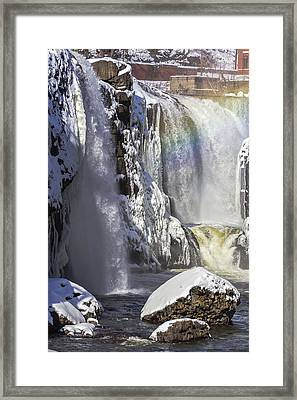 Great Falls And A Rainbow Framed Print
