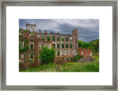 Great Falls Mill Ruins Framed Print by Priscilla Burgers