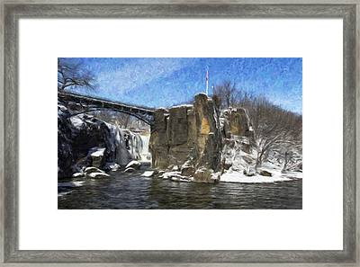 Great Falls Painted Framed Print